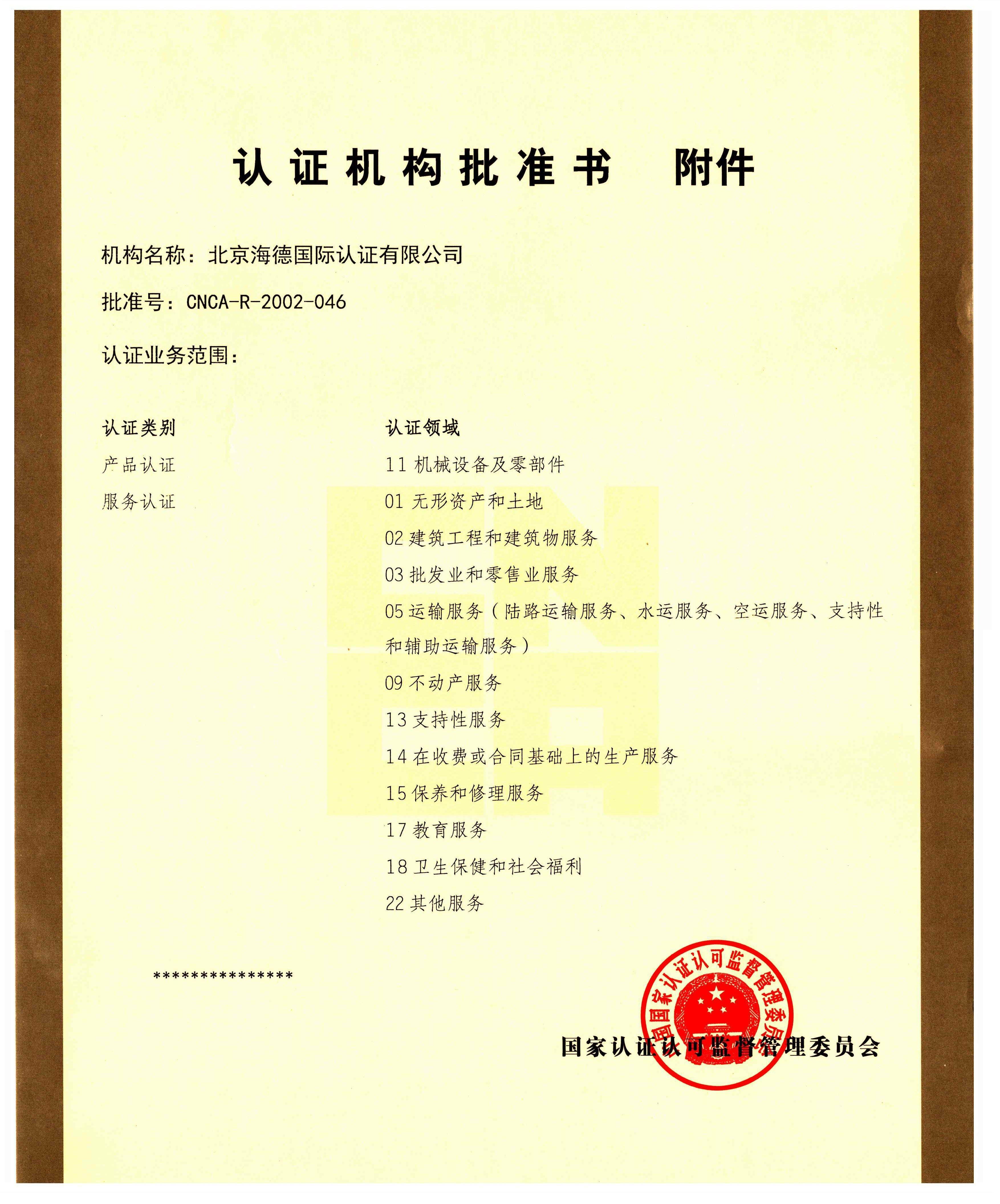 北京海德国际投资有限公司批准书附件